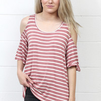 Softy Striped Cold Shoulder Top {Mauve/Ivory}