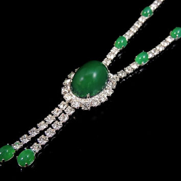 Emerald Glass Cabochon Rhinestone Necklace Vintage