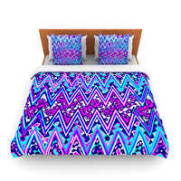 "Nika Martinez ""Blue Electric Chevron"" Fleece Duvet Cover"