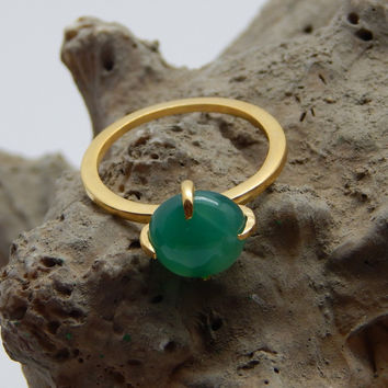 Prong Setting Green Onyx Engagement Rings