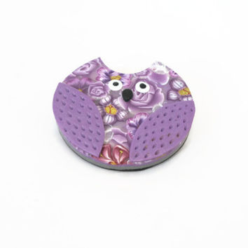 Purple Owl Brooch - Polymer Clay Brooch - Lavender Lilac Millefiori Flowers - Bird Jewellery - Floral Bespoke Design