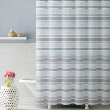 Royal Bath Ombre Cascade Blue Fabric Shower Curtain