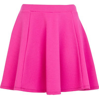 River Island Womens Bright pink textured skater skirt