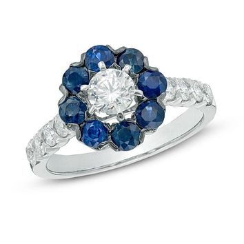 1 CT. T.W. Diamond and Blue Sapphire Frame Engagement Ring in 14K White Gold