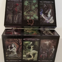 Tarot box, Gothic / Vampire / Ritual Decorative Tarot box, black and metallic green, Tarot art, Tarot cards