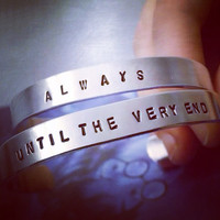 Always & Until The Very End Silver Aluminum Cuff Bracelet Set  -  Harry Potter And The Deathly Hallows Inspired Geekery Best Friend Jewelry