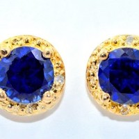 2 Ct Blue Sapphire Round Diamond Stud Earrings 14Kt Yellow Gold & Sterling Silver