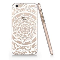 White Henna Pattern Clear Plastic Phone Case for Iphone 6