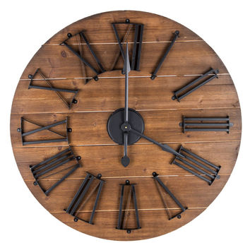 Round Natural Wood & Metal Wall Clock | Hobby Lobby