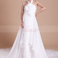 Halter Empire Chiffon Maternity Sweep Train Wedding Dress with Flower JSWD0064 -JuesheGowns.com