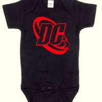 DC Comics - Logo - Red on Black - Baby Onesuit - Baby Boy - Baby Girl - Onesuit - Superhero - Comic Books