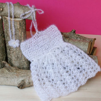 Handmade Crochet Newborn baby girl mohair Dress and Tieback. Baby Photo Prop. Size 0 - 3 months. Ready to ship