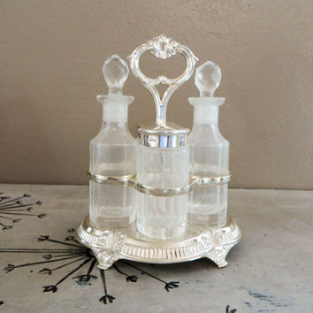 Cruet Set Salt and Pepper Set Serving Set Vintage Caddy Glass Caddy Wedding Gift Housewarming Gift Oil and Vinegar Set Glass Shakers