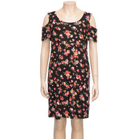 H.I.P. Ditsy Floral Girls Cold Shoulder Dress Black Combo  In Sizes