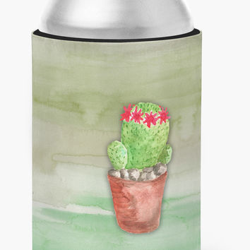 Cactus Green Watercolor Can or Bottle Hugger BB7364CC