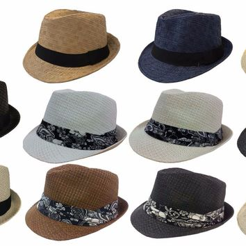 MEN WOMEN PAPER STRAW FEDORA TRILBY BUCKET HAT CAP With Fabric Band