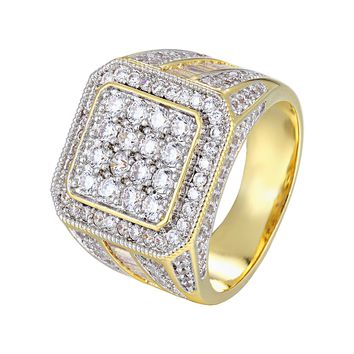 14k Gold Finish Men's Iced Out Solitaire Baguette Square Ring