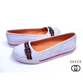 GUCCI Slip-On Women Fashion Leather Flats Shoes