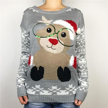 Kawaii Reindeer Wearing Glasses Knitted Ugly Christmas Sweaters for Women Cute Girls Sequin Oversized Xmas Pullover Jumper