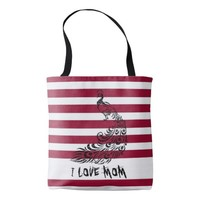 I love Mom Peacock All-Over-Print Tote Bag