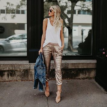 High Waist Skinny Ankle Sequins Glitter Joggers
