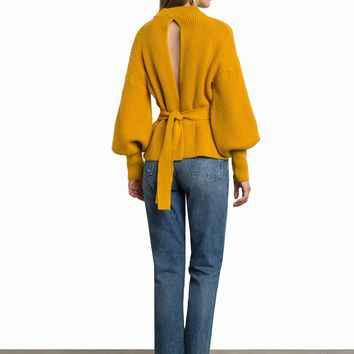 LAUREL MUSTARD OPEN BACK BELTED SWEATER