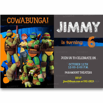 Cowabunga TMNT Ninja Turtle Chalk Kids Birthday Invitation Party Design