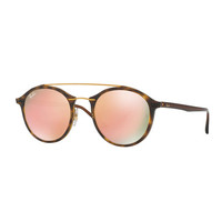Ray-Ban Round Iridescent Double-Bridge Sunglasses, Havana/Copper
