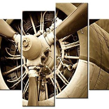 Canvas Prints Vintage Aircraft Art Wall Decor - 4 Panel Large Turbine Combat Fighter Plane Propeller Pictures Framed