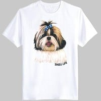 Adorable Shih Tzu Puppy Face Graphic Print T-Shirt in White | DOTOLY