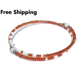 Orange & White Glass Beaded Artisan Crafted Stackables Adjustable  Bracelet (XXS-S)
