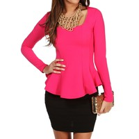 Hot Pink Fitted Long Sleeve Peplum Top
