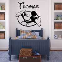 Mickey Mouse Wall Decals Personalized Name Sticker Vinyl Baby Room Nursery SM90