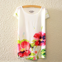 Summer Print Bat Short Sleeve T-shirts [4919408580]