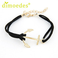 Delicate Hot! Cheap fashion Women Retro Alloy Anchor Braided Rope Gold Charm Jewelry Bracelet al22