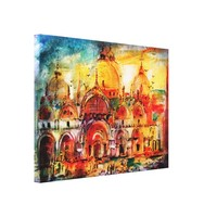 Venice Italy Piazza San Marco Watercolor Art Canvas Print