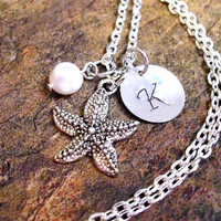Starfish Necklace, Personalized Necklace, Pearl Necklace, Ocean Jewelry, Beach Jewelry, Wedding Jewelry, Bridal Jewelry