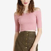 Brigitte Pink Off the Shoulder Crop Top