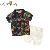 Kimocat boys clothes Floral polo shirts+ white casual shorts for kids clothes summer clothing sets