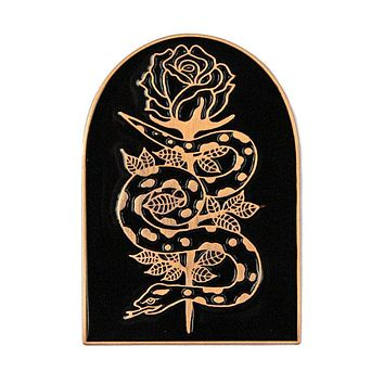 Snake & Rose Large Pin