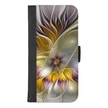 Abstract Colorful Fantasy Flower Modern Fractal iPhone 8/7 Plus Wallet Case