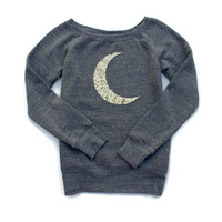 Gold Sequin Moon Sweatshirt Jumper - Crescent Moon
