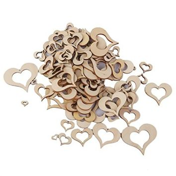 100pc Wedding Decor Wooden Blank Hollow Heart Embellishments