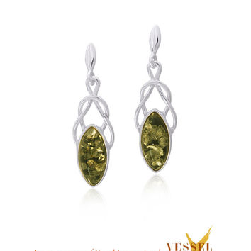 Celtic Knot Sterling Silver Drop Post Earrings with Green Baltic Amber