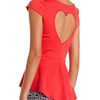 Heart Cutout Hi-Low Peplum Top: Charlotte Russe