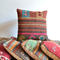 Decorative Handwoven Bohemian Kilim Pillow Cover - 16x16 inch - Organic Pillow - Throw Pillow - Accent Pillow - Floor Pillow