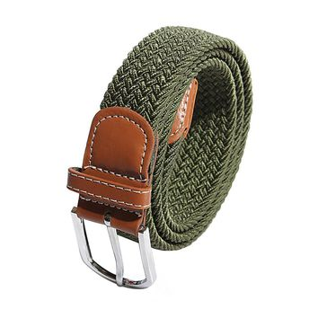 Military  Belt Men Elastic Stretch Woven Canvas Leather Pin Buckle