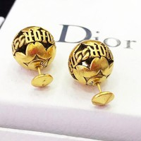 DIOR Popular Women Cute Retro Round Ball Earrings Jewelry Accessories