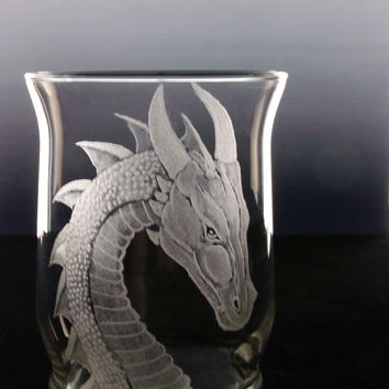 Dragon candle holder, votive , hand engraved clear glass fantasy dragon gift ideas