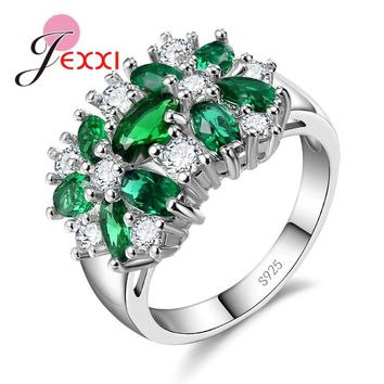JEXXI Charm Luxury Cubic Zircon Rings For Women Wedding Engagement Jewelry Sterling Silver Proposal Finer Ring